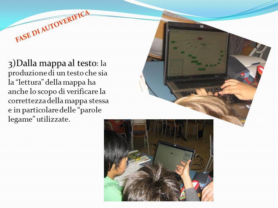 3)Dalla mappa al testo : la produzione di un testo che sia la lettura della mappa ha anche lo scopo di verificare la correttezza della mappa stessa e