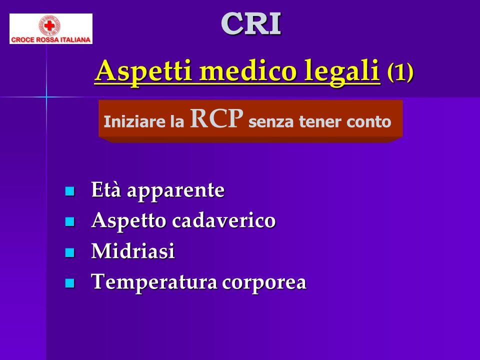 Aspetti medico legali (1) Età apparente Età apparente Aspetto cadaverico Aspetto cadaverico Midriasi Midriasi Temperatura corporea Temperatura corpore