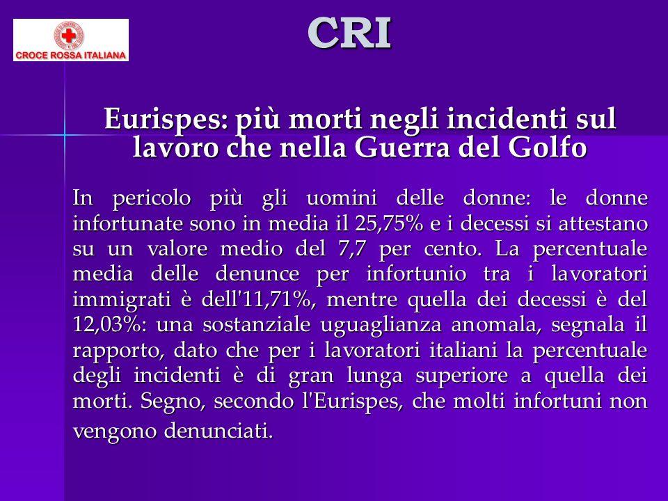 CRI Eurispes: più morti negli incidenti sul lavoro che nella Guerra del Golfo In pericolo più gli uomini delle donne: le donne infortunate sono in med