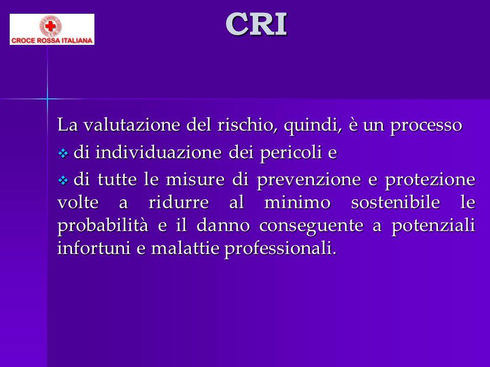 CRI La valutazione del rischio, quindi, è un processo di individuazione dei pericoli e di individuazione dei pericoli e di tutte le misure di prevenzi