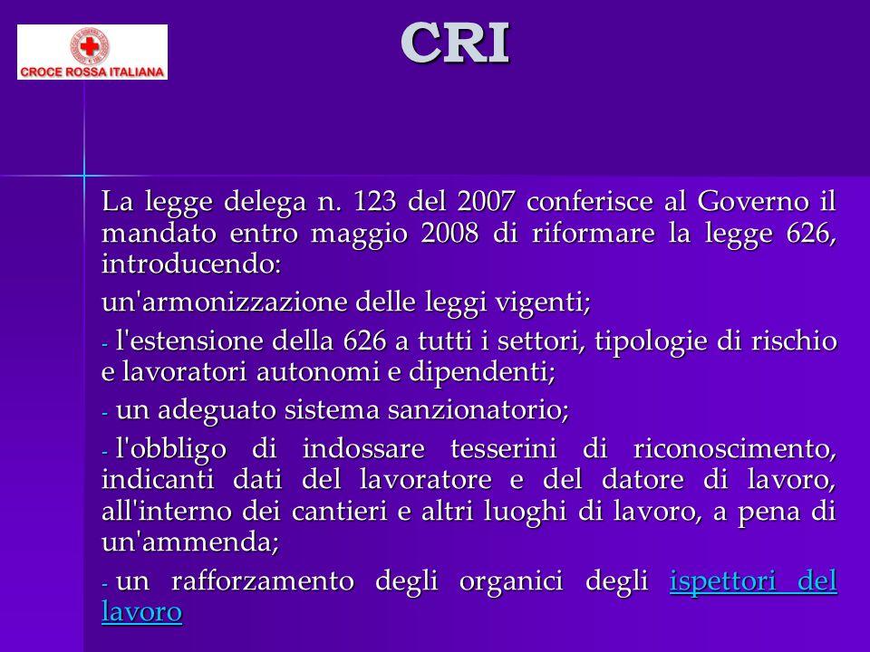 CRI La legge delega n. 123 del 2007 conferisce al Governo il mandato entro maggio 2008 di riformare la legge 626, introducendo: un'armonizzazione dell