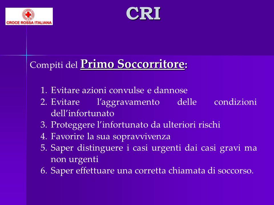 CRI Primo Soccorritore : Compiti del Primo Soccorritore : 1.Evitare azioni convulse e dannose 2.Evitare laggravamento delle condizioni dellinfortunato