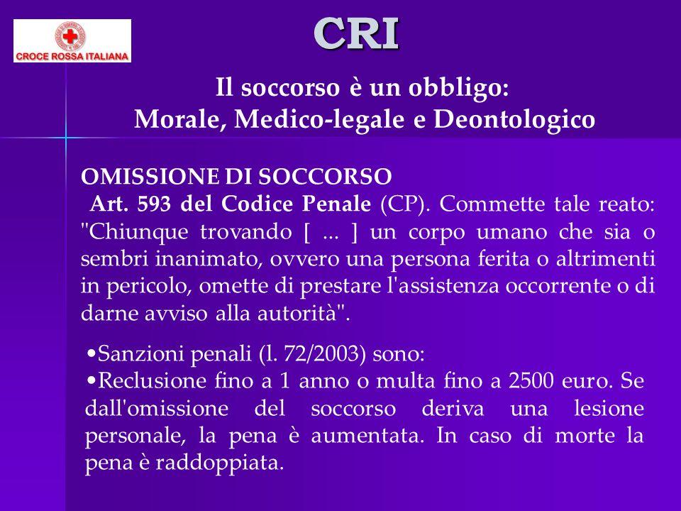 CRI Il soccorso è un obbligo: Morale, Medicolegale e Deontologico OMISSIONE DI SOCCORSO Art. 593 del Codice Penale (CP). Commette tale reato: