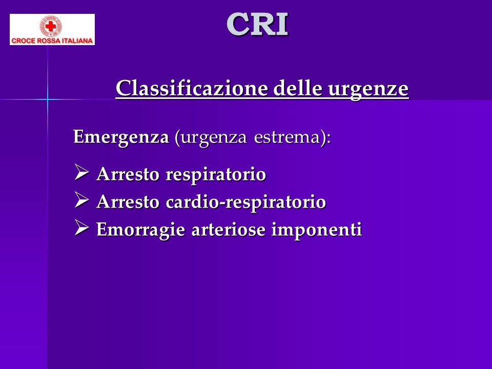 CRI Classificazione delle urgenze Emergenza (urgenza estrema): Arresto respiratorio Arresto respiratorio Arresto cardio-respiratorio Arresto cardio-re