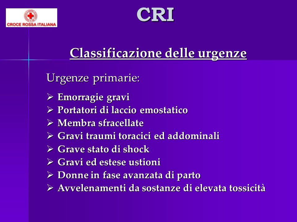 CRI Classificazione delle urgenze Urgenze primarie: Emorragie gravi Emorragie gravi Portatori di laccio emostatico Portatori di laccio emostatico Memb