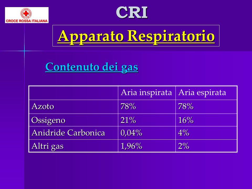 CRI Apparato Respiratorio Contenuto dei gas Aria inspirataAria espirataAzoto78%78% Ossigeno21%16% Anidride Carbonica 0,04%4% Altri gas 1,96%2%