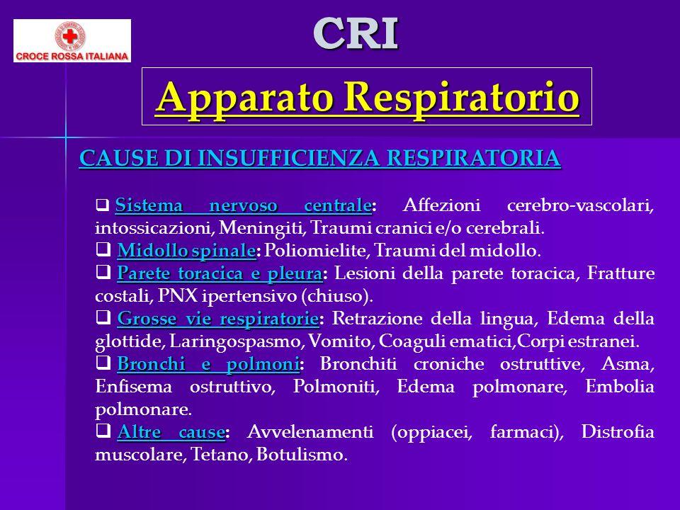 CRI Apparato Respiratorio CAUSE DI INSUFFICIENZA RESPIRATORIA Sistema nervoso centrale Sistema nervoso centrale: Affezioni cerebro-vascolari, intossic