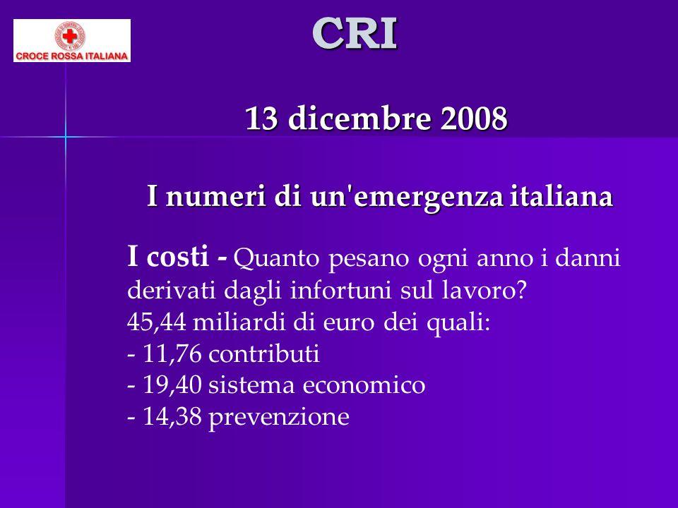 CRI 13 dicembre 2008 I numeri di un'emergenza italiana I numeri di un'emergenza italiana I costi - Quanto pesano ogni anno i danni derivati dagli info