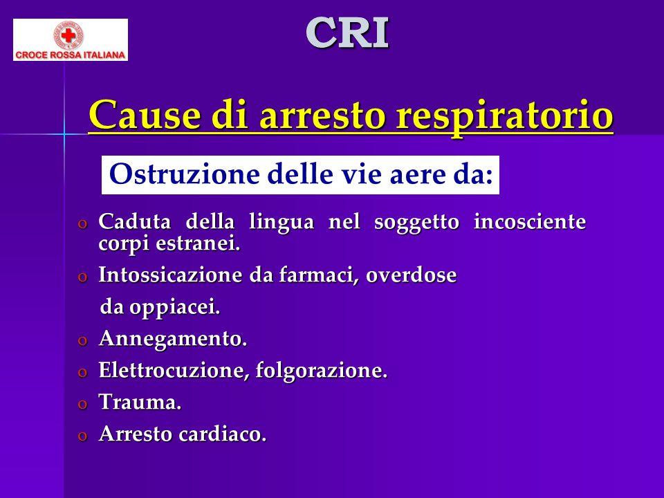 Cause di arresto respiratorio o Caduta della lingua nel soggetto incosciente corpi estranei. o Intossicazione da farmaci, overdose da oppiacei. da opp