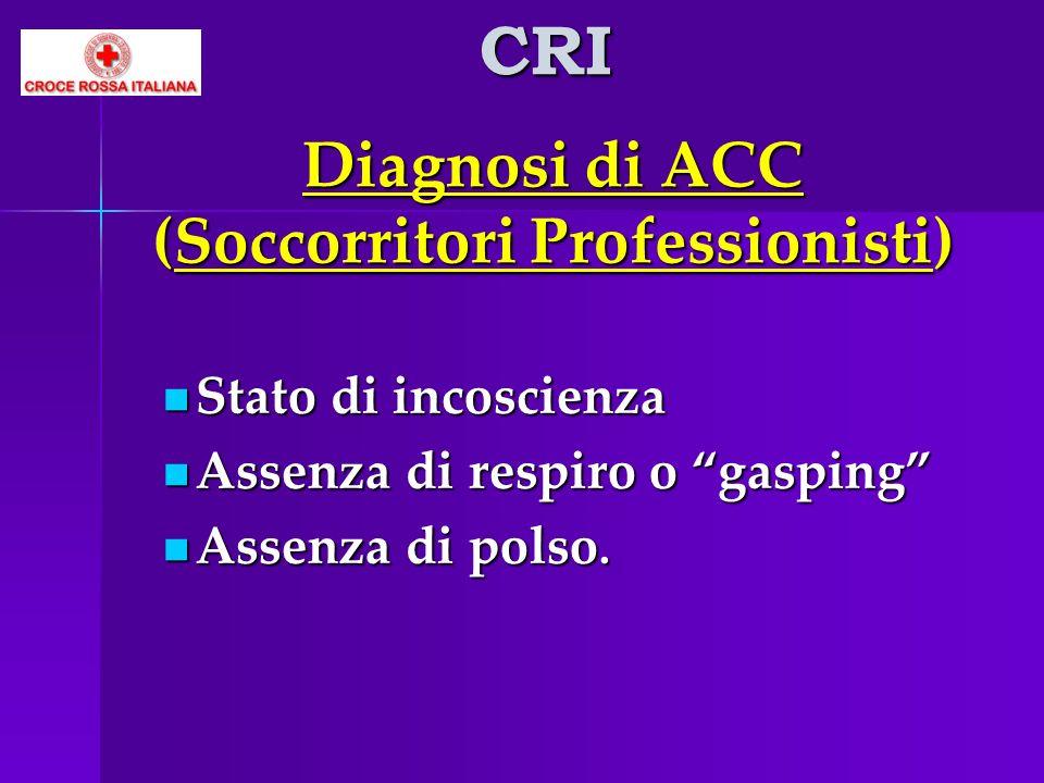 Diagnosi di ACC (Soccorritori Professionisti) Stato di incoscienza Stato di incoscienza Assenza di respiro o gasping Assenza di respiro o gasping Asse