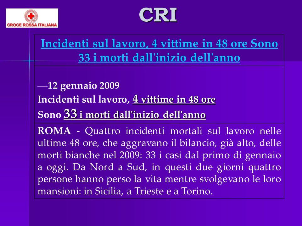 CRI Incidenti sul lavoro, 4 vittime in 48 ore Sono 33 i morti dall'inizio dell'anno 12 gennaio 2009 4 vittime in 48 ore 33 i morti dall'inizio dell'an