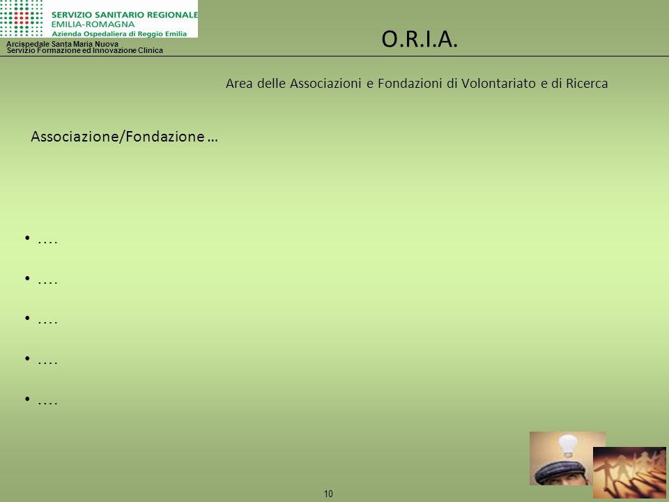 10 O.R.I.A. Area delle Associazioni e Fondazioni di Volontariato e di Ricerca Arcispedale Santa Maria Nuova Servizio Formazione ed Innovazione Clinica