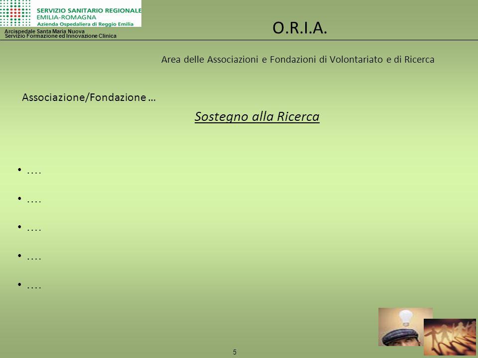 5 O.R.I.A. Area delle Associazioni e Fondazioni di Volontariato e di Ricerca Arcispedale Santa Maria Nuova Servizio Formazione ed Innovazione Clinica