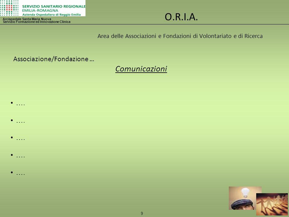 9 O.R.I.A. Area delle Associazioni e Fondazioni di Volontariato e di Ricerca Arcispedale Santa Maria Nuova Servizio Formazione ed Innovazione Clinica
