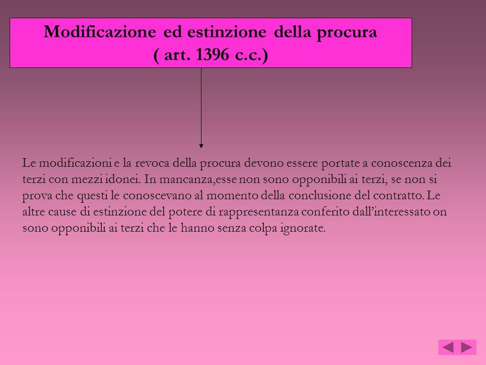 Modificazione ed estinzione della procura ( art. 1396 c.c.) Le modificazioni e la revoca della procura devono essere portate a conoscenza dei terzi co