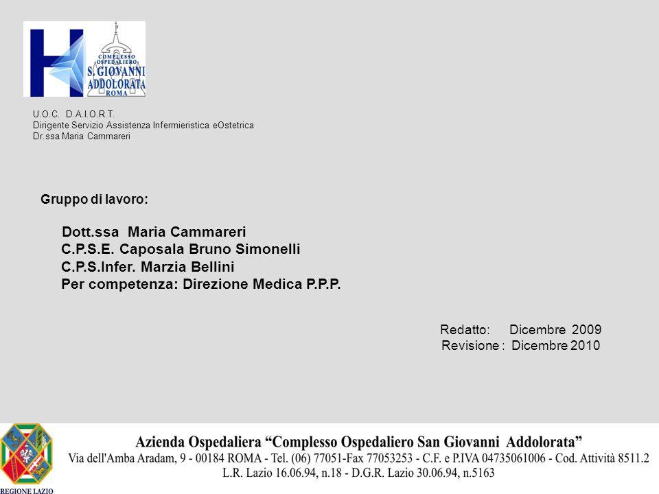 U.O.C. D.A.I.O.R.T. Dirigente Servizio Assistenza Infermieristica eOstetrica Dr.ssa Maria Cammareri Gruppo di lavoro: Dott.ssa Maria Cammareri C.P.S.E