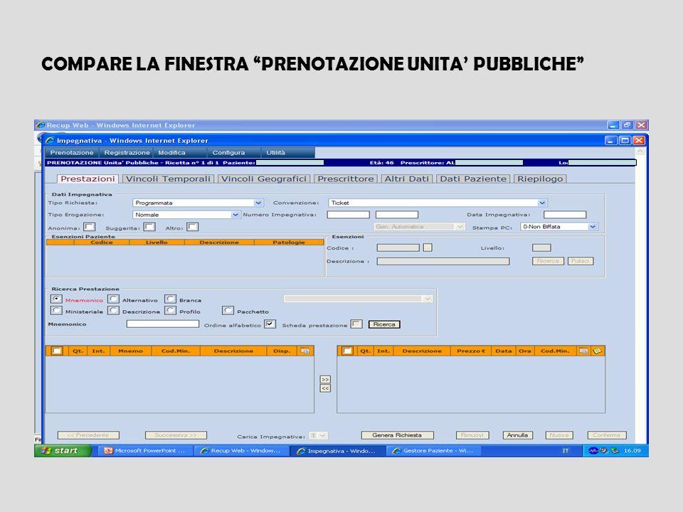 COMPARE LA FINESTRA PRENOTAZIONE UNITA PUBBLICHE