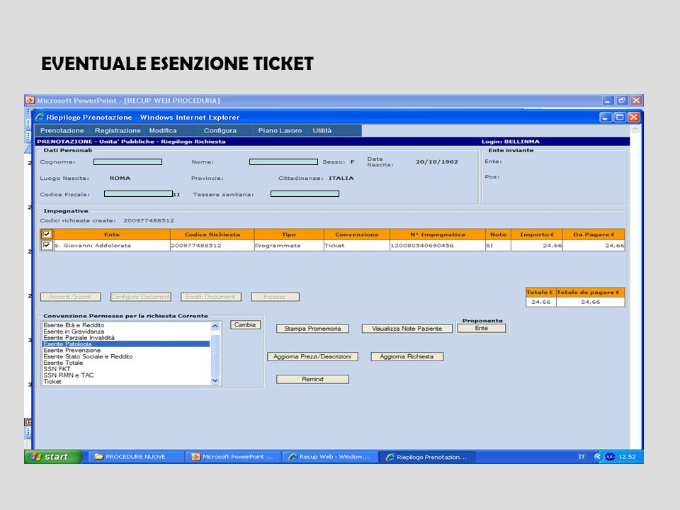 EVENTUALE ESENZIONE TICKET