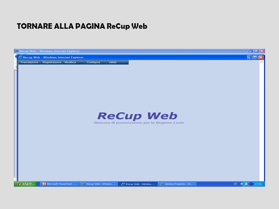 TORNARE ALLA PAGINA ReCup Web