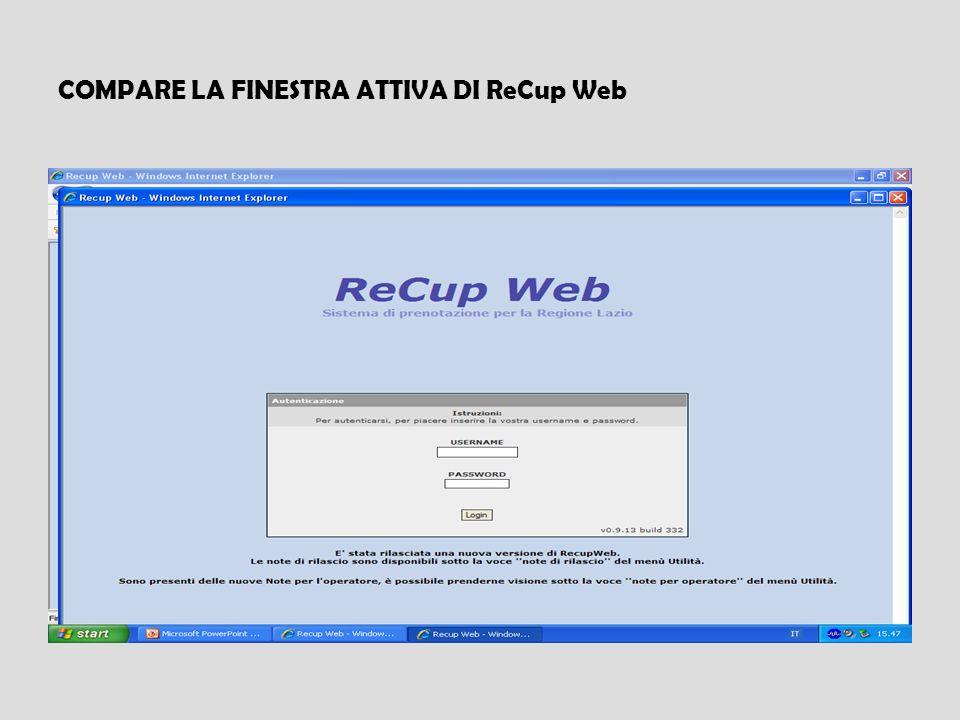 COMPARE LA FINESTRA ATTIVA DI ReCup Web