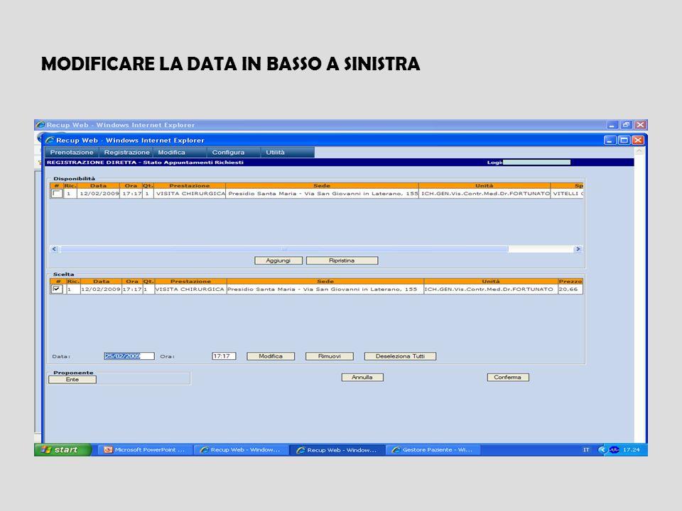 MODIFICARE LA DATA IN BASSO A SINISTRA