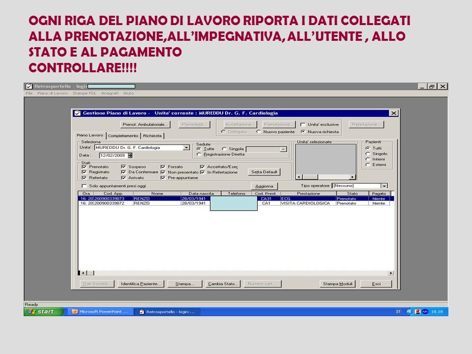 OGNI RIGA DEL PIANO DI LAVORO RIPORTA I DATI COLLEGATI ALLA PRENOTAZIONE,ALLIMPEGNATIVA, ALLUTENTE, ALLO STATO E AL PAGAMENTO CONTROLLARE!!!!