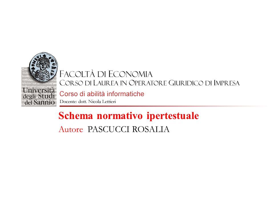 Schema normativo ipertestuale Autore PASCUCCI ROSALIA