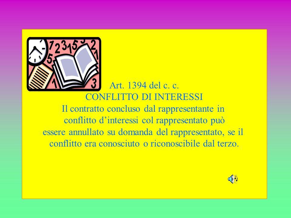 Art. 1394 del c. c. CONFLITTO DI INTERESSI Il contratto concluso dal rappresentante in conflitto dinteressi col rappresentato può essere annullato su