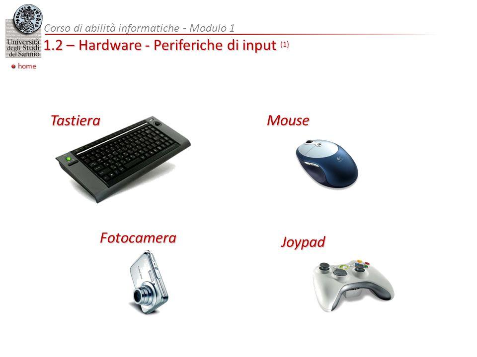 home Corso di abilità informatiche - Modulo 1 1.2 – Hardware - Periferiche di input (1) Mouse Tastiera Fotocamera Joypad