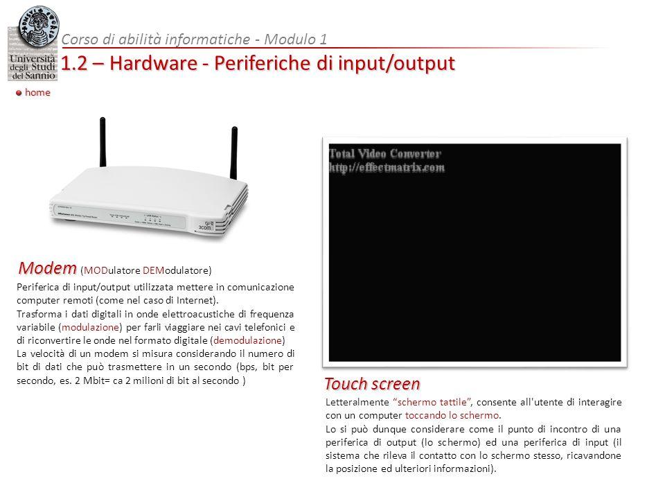 Letteralmente schermo tattile, consente all'utente di interagire con un computer toccando lo schermo. Lo si può dunque considerare come il punto di in