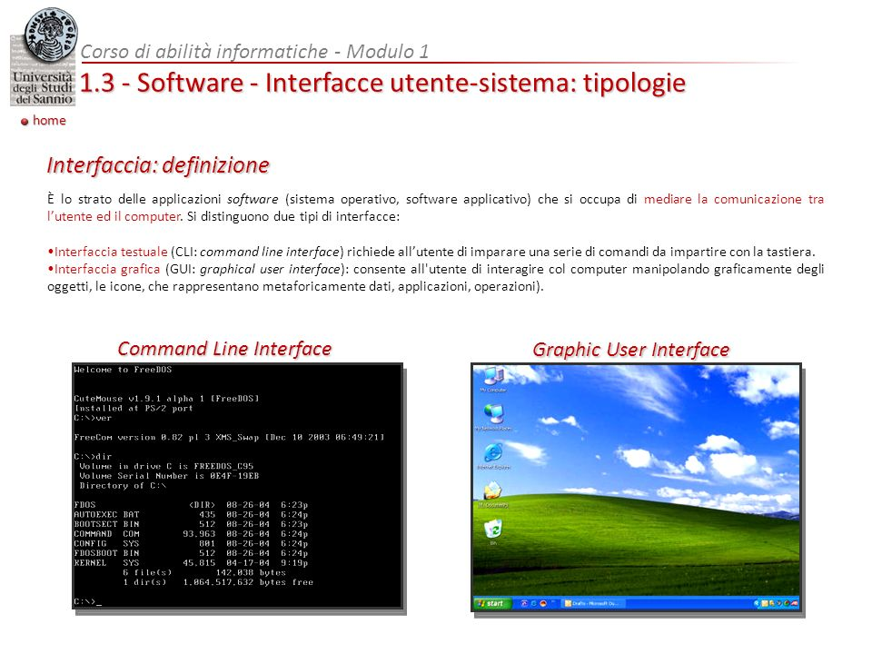 Corso di abilità informatiche - Modulo 1 1.3 - Software - Interfacce utente-sistema: tipologie È lo strato delle applicazioni software (sistema operativo, software applicativo) che si occupa di mediare la comunicazione tra lutente ed il computer.