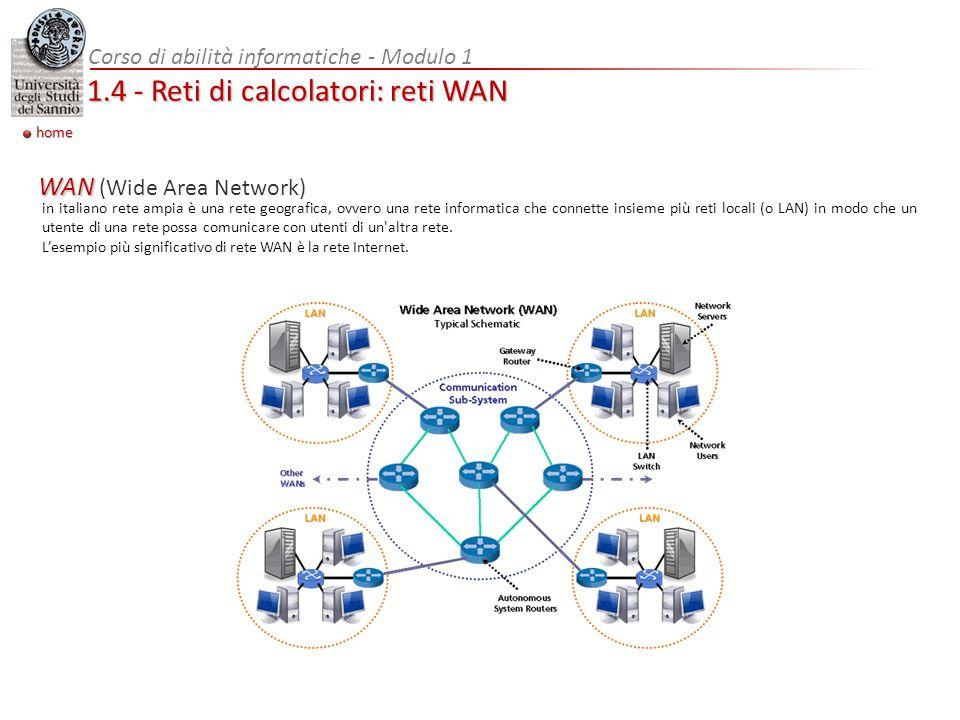 Corso di abilità informatiche - Modulo 1 1.4 - Reti di calcolatori: reti WAN home in italiano rete ampia è una rete geografica, ovvero una rete inform