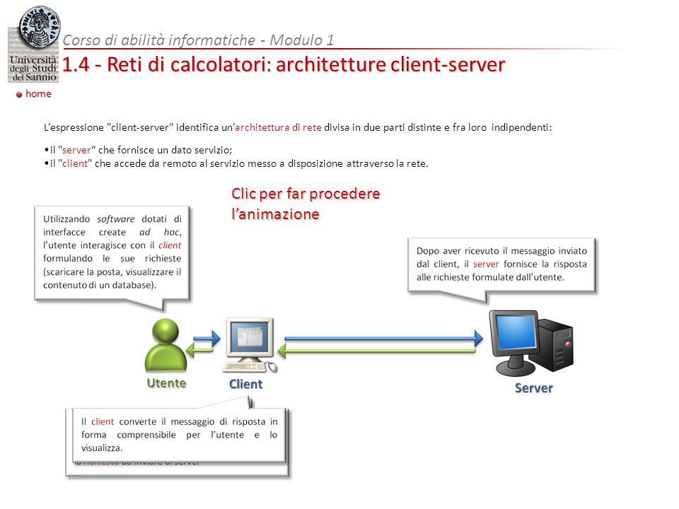 1.4 - Reti di calcolatori: architetture client-server home Lespressione