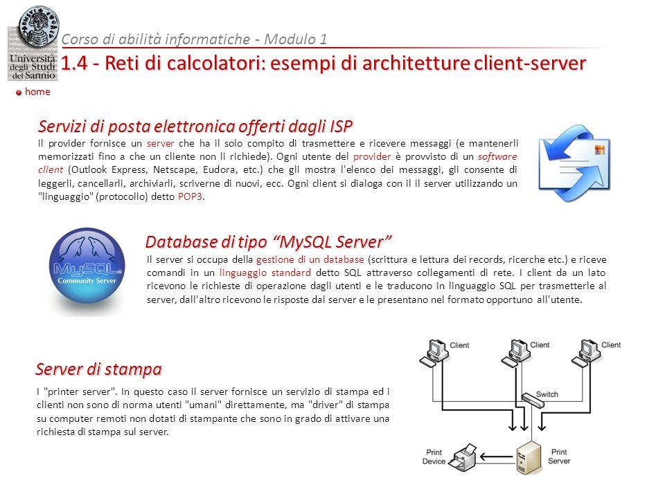 Corso di abilità informatiche - Modulo 1 1.4 - Reti di calcolatori: esempi di architetture client-server home il provider fornisce un server che ha il