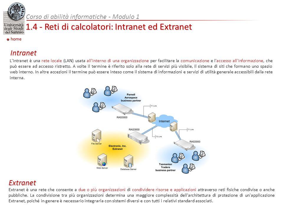 Corso di abilità informatiche - Modulo 1 1.4 - Reti di calcolatori: Intranet ed Extranet L'intranet è una rete locale (LAN) usata all'interno di una o