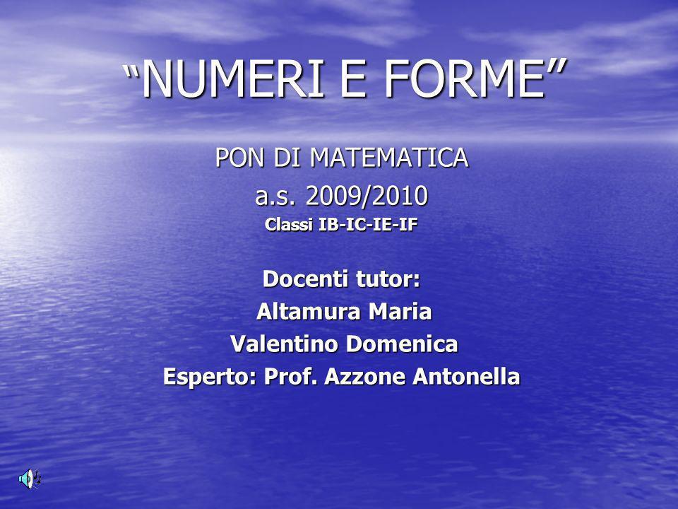 NUMERI E FORME NUMERI E FORME PON DI MATEMATICA a.s.
