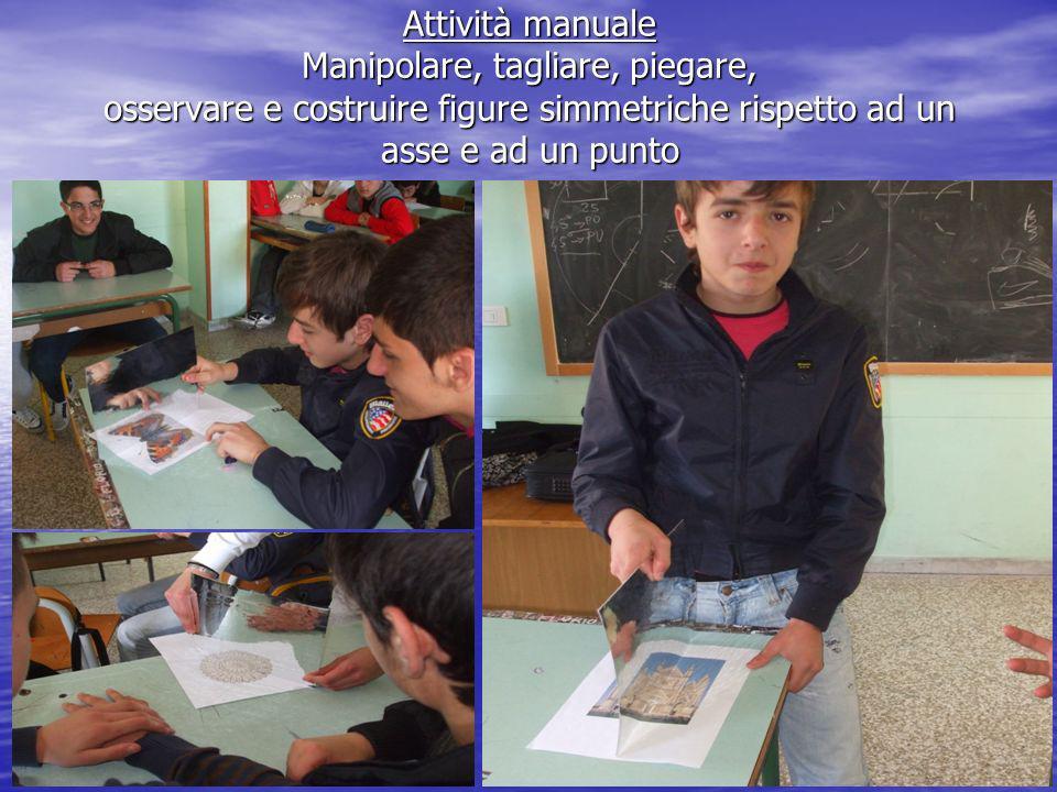 Attività manuale Manipolare, tagliare, piegare, osservare e costruire figure simmetriche rispetto ad un asse e ad un punto