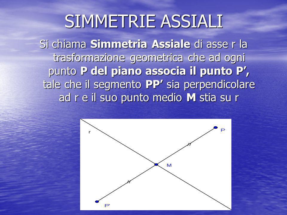 SIMMETRIE ASSIALI Si chiama Simmetria Assiale di asse r la trasformazione geometrica che ad ogni punto P del piano associa il punto P, tale che il segmento PP sia perpendicolare ad r e il suo punto medio M stia su r