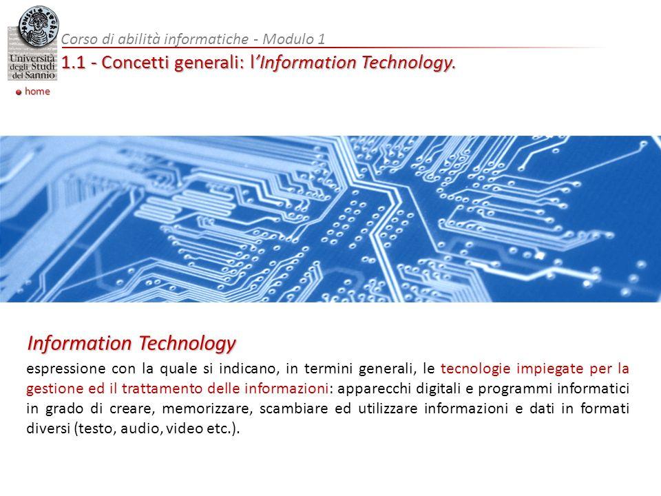 1.1 - Concetti generali: hardware Espressione inglese (letteralmente ferramenta) con la quale si indica la parte fisica di un computer o, in senso più generale, di unapparecchiatura elettronica Corso di abilità informatiche - Modulo 1 home Hardware