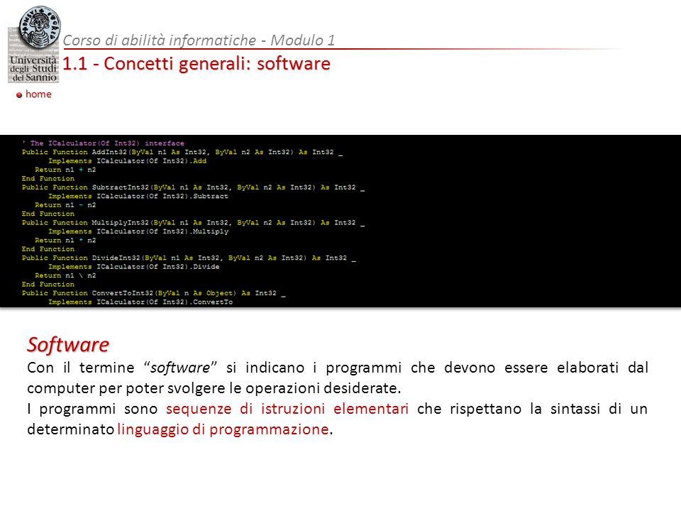 1.1 - Concetti generali: software Con il termine software si indicano i programmi che devono essere elaborati dal computer per poter svolgere le operazioni desiderate.