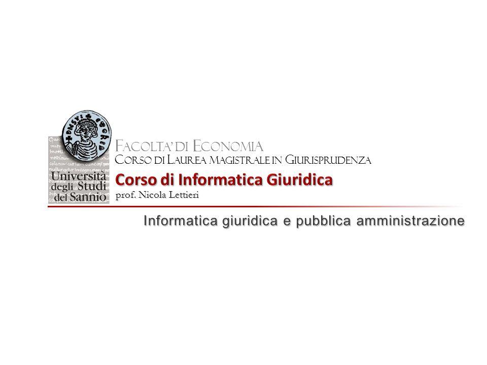 F ACOLTA DI E CONOMI A C orso di l aurea M agistrale in g iurisprudenza prof. Nicola Lettieri