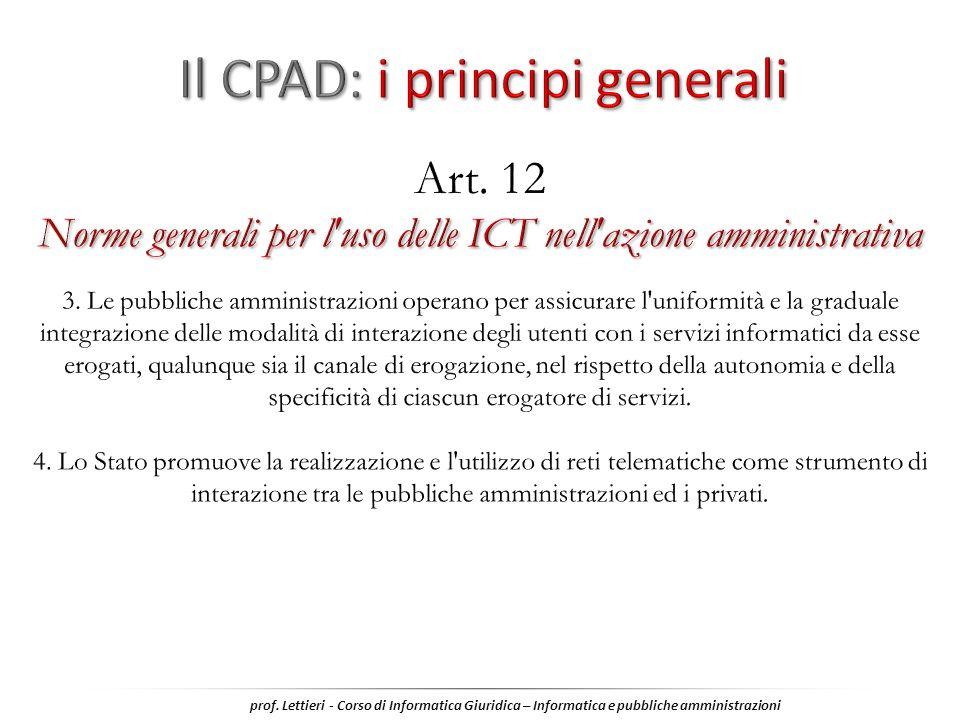 prof. Lettieri - Corso di Informatica Giuridica – Informatica e pubbliche amministrazioni