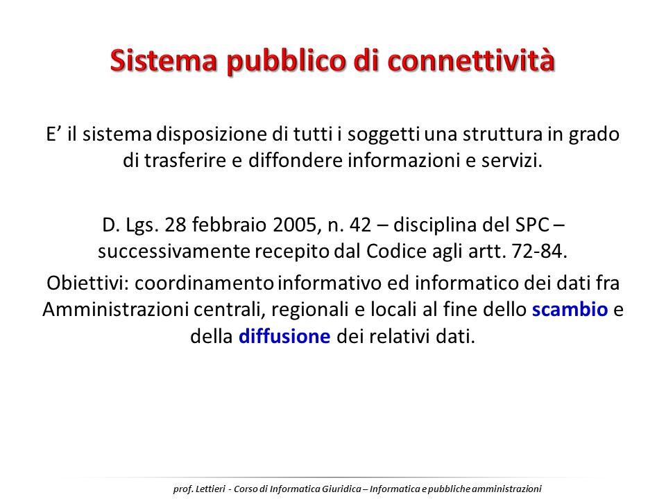 E il sistema disposizione di tutti i soggetti una struttura in grado di trasferire e diffondere informazioni e servizi. D. Lgs. 28 febbraio 2005, n. 4