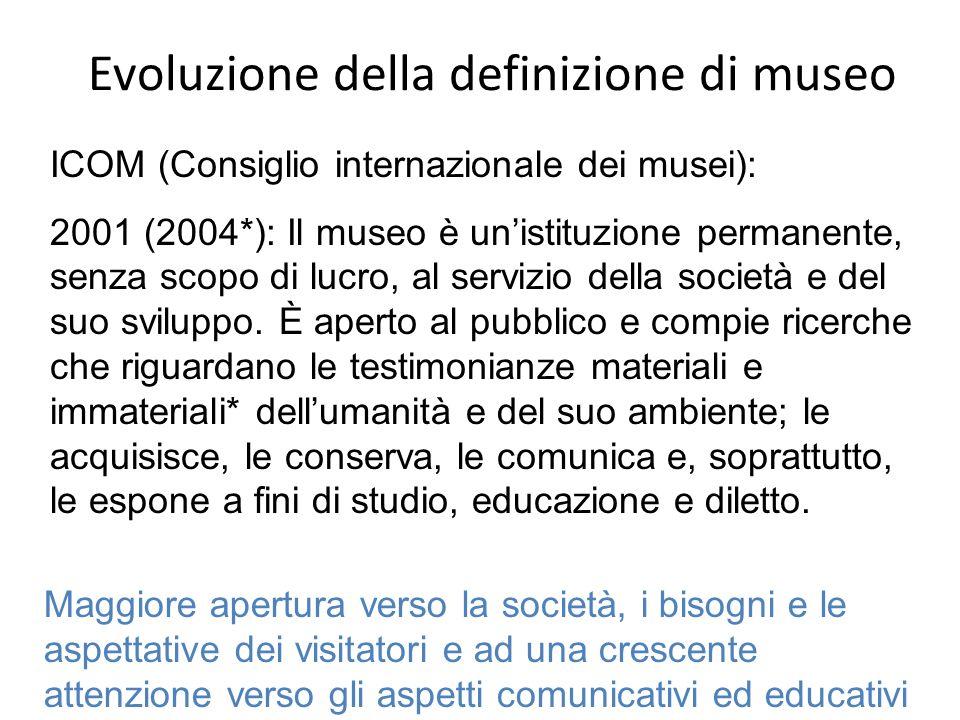 Evoluzione della definizione di museo ICOM (Consiglio internazionale dei musei): 2001 (2004*): Il museo è unistituzione permanente, senza scopo di luc
