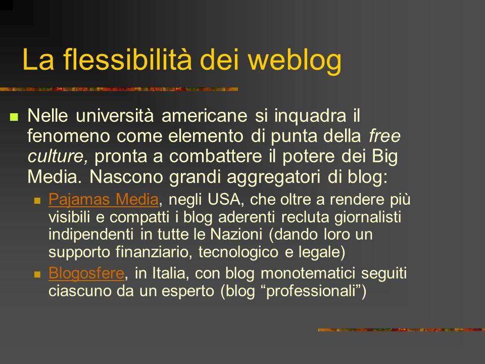 La flessibilità dei weblog Nelle università americane si inquadra il fenomeno come elemento di punta della free culture, pronta a combattere il potere