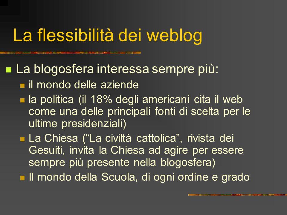 La flessibilità dei weblog La blogosfera interessa sempre più: il mondo delle aziende la politica (il 18% degli americani cita il web come una delle p