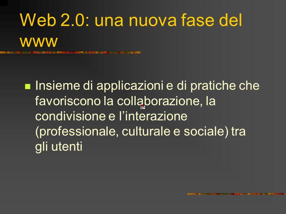 Web 2.0: una nuova fase del www Insieme di applicazioni e di pratiche che favoriscono la collaborazione, la condivisione e linterazione (professionale