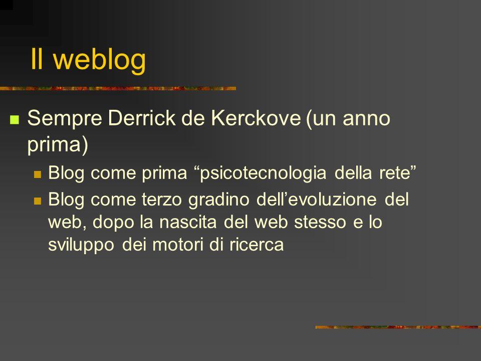 Il weblog Sempre Derrick de Kerckove (un anno prima) Blog come prima psicotecnologia della rete Blog come terzo gradino dellevoluzione del web, dopo l