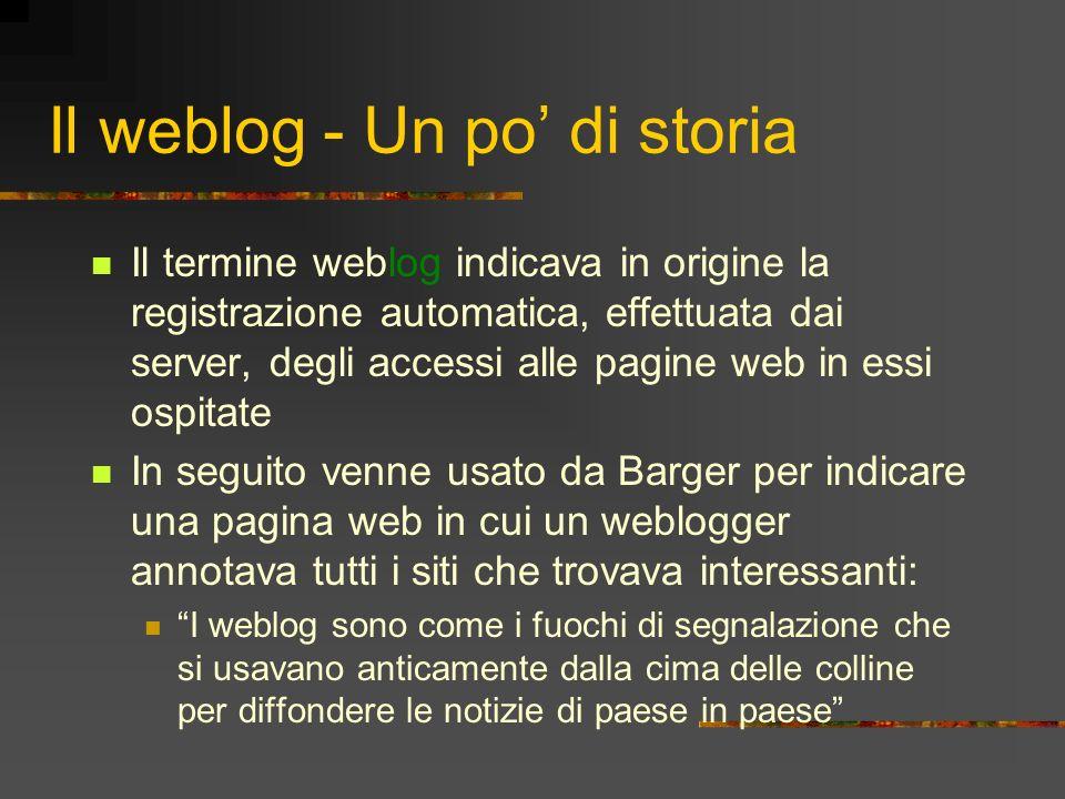 Il weblog - Un po di storia Il termine weblog indicava in origine la registrazione automatica, effettuata dai server, degli accessi alle pagine web in