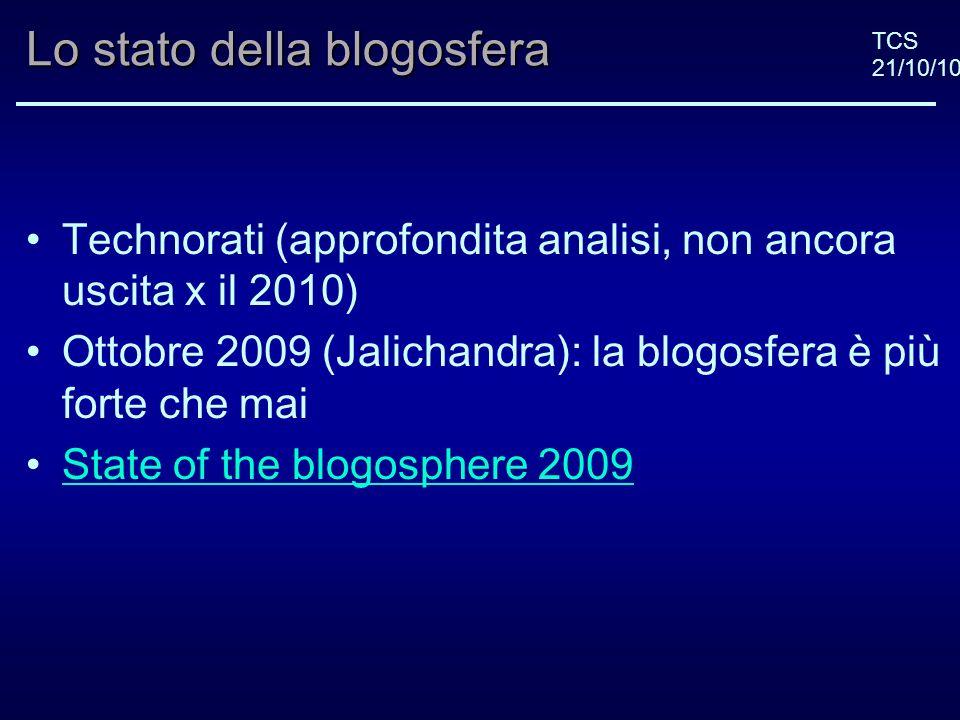 TCS 21/10/10 Blog italiani: argomenti più discussi